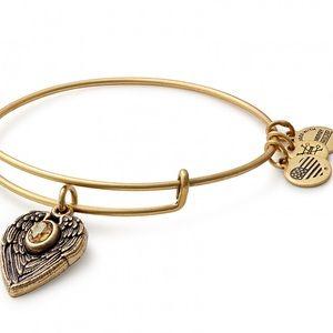 ALEX & ANI Guardian Angel Gold Charm Bangle w/ Bag